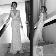 Lihi Hod Bohemian Lace Wedding Dresses With 2016 Y Vintage Deep V Neckline Long Sleeves Backless Sweep Train Modest Boho Bridal Gowns New Weding Dress