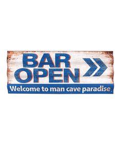'Bar Open' Metal Wall Sign