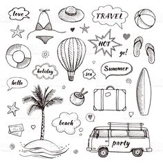 View top-quality illustrations of Set Of Hand Drawn Travel Doodle Tourism And Summer Sketch With Travelling Elements And Speech Bubbles Vector Illustration. Bullet Journal Voyage, Travel Doodles, Sketch Note, Travel Icon, Travel Tourism, Travel Bag, Photo Album Scrapbooking, Diy Notebook, Planner