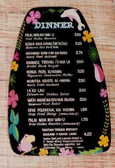 Disneyland Tahitian Terrace menu - an original hand-painted menu from the Adventureland restaurant - The prices! Old Disney, Disney Food, Disney Girls, Punk Disney, Princess Disney, Vintage Menu, Vintage Recipes, Vintage Food, Vintage Travel