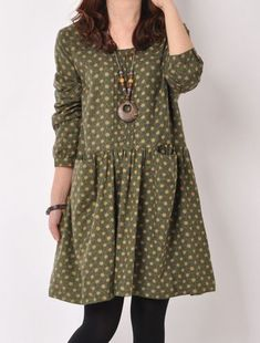 2014 Autumn new Tapestry Mori girl printing long sleeved o neck knee length loose casual dress Dresses from Apparel Linen Dresses, Cotton Dresses, Casual Dresses, Fashion Dresses, Girls Dresses, Mori Mode, Mori Girl Fashion, Fashion Women, Mode Hijab
