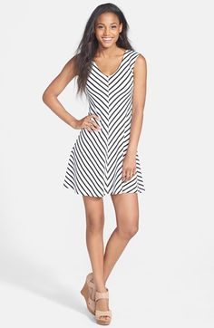 Soprano Cutout Stripe Skater Dress (Juniors) available at #Nordstrom