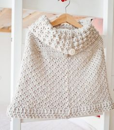 Poncho with oversized collar, crochet pattern, baby poncho, toddler, child, cowl, monpetitviolon