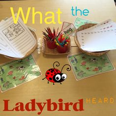 """What the ladybird heard"" writing invitation Eyfs Activities, Spring Activities, Writing Activities, Activities For Kids, Writing Area, Kids Writing, What The Ladybird Heard Activities, Minibeasts Eyfs, Story Sack"