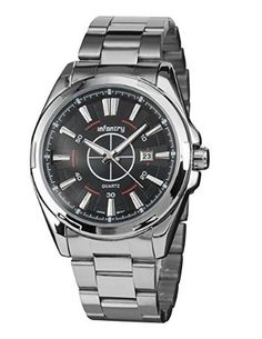 INFANTRY Men's Analog Quartz Wrist Watch with Luminous hands and Stainless Steel bracelet - silver