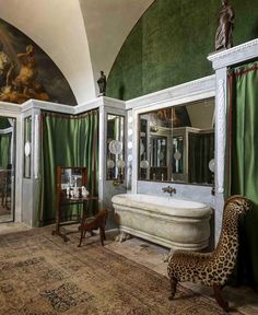 Low-key Sicilian bathroom moment by #JacquesGarcia photographed by Vincent Leroux 🐆 via @ad_magazine Villa, Masculine Bathroom, Flamboyant, Baroque, Clawfoot Bathtub, Low Key, Oversized Mirror, In This Moment, Instagram