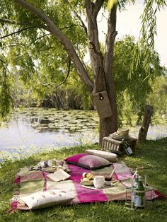 How romantic! The perfect picnic backdrop - style it with pink and lots of green! Picnic Spot, Picnic In The Park, Beach Picnic, Picnic Theme, Picnic Parties, Summer Parties, Picnic Date, Romantic Picnics, Romantic Dinners