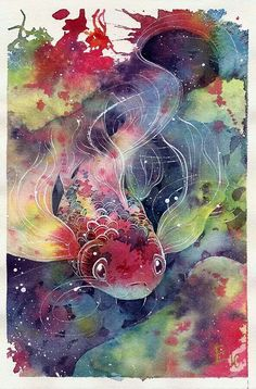 Goldfish - Idea (doesn't need to be fish, could be flowers) would be lovely as watercolor tattoo, with white ink for definition