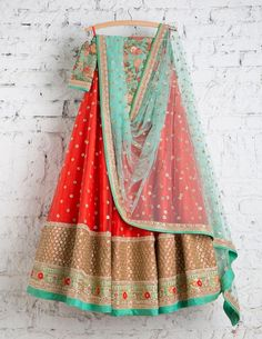 SwatiManish Lehenga SMF LEH 145 17 Lantern Orange lehenga with ocean blue dupatta and blue threadwork blouse Choli Designs, Lehenga Designs, Blouse Designs, Indian Dresses, Indian Outfits, Indian Clothes, Eid Outfits, Eid Dresses, Desi Clothes