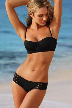 Black Cut Out Push Up Top with Bottom Swimsuit - Sheinside.com
