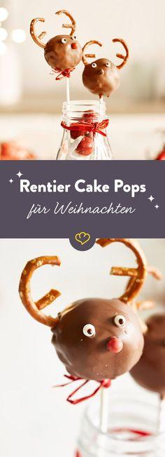 Du hast genug von Plätzchen und Keksen? Diese niedlichen Rentier-Cake-Pops versüßen dir die Weihnachtszeit.