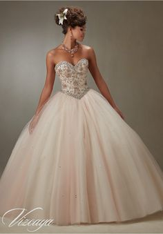 Quinceanera Dress 89073 Layered Tulle Ball Gown with Embroidery and Jeweled Beading