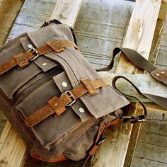 Os Homens Pu estilo antigo de lona e couro, bolsa escola militar, de ombro, saco, de mensageiro nova | Roupas, calçados e acessórios, Acessórios masculinos, Mochilas, sacolas e maletas | eBay!