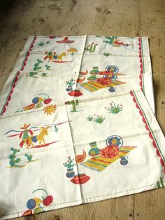 4 Vintage Mexican Novelty Print Place Mats by VintageZipper, $12.00