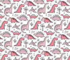 Dinosaurs in Pink fabric by caja_design on Spoonflower - custom fabric
