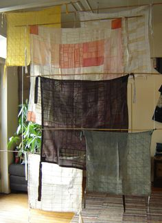Curtains made from an ancient korean patchwork technique, Pojagi