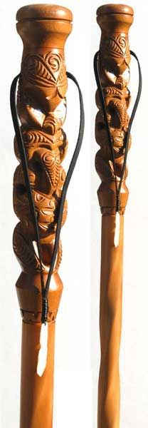 Maori style carved walking sticks
