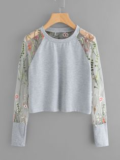 Floral Embroidered Sheer Mesh Panel Sleeve Sweatshirt - Floral Embroidered Sheer Mesh Panel Sleeve Sweatshirt Source by - Girls Fashion Clothes, Teen Fashion Outfits, Outfits For Teens, Stylish Outfits, Cool Outfits, Fashion Dresses, Women's Fashion, Crop Top Outfits, Mode Style