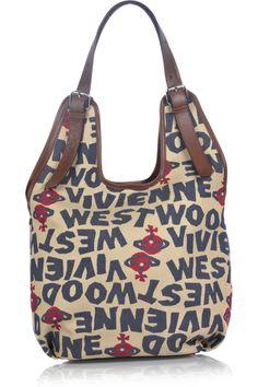 Vivienne Westwood|Stoneage canvas hobo bag|NET-A-PORTER.COM