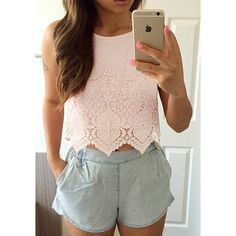 Crochet-Hemmed Tank Top ($19) ❤ liked on Polyvore
