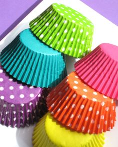 Love these!  Girls Rainbow Assorted Cupcake liners  by thebakersconfections