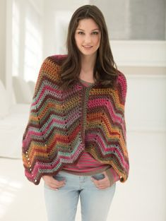 Crochet this chevron wrap in Landscapes®, one of our newest and most popular color-changing yarns.