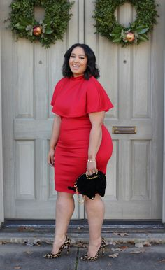 Rochelle from Beauty Curves is rocking our Wesley Cape Dress for 12 Days of Glitz and Glam. -$46.90- Click the Link to Shop -http://goo.gl/FSzhhh