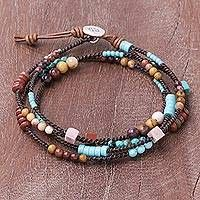 Handmade Calcite and Jasper Necklace with Adjustable Length - Mountain Charm Beaded Wrap Bracelets, Handmade Bracelets, Embroidery Bracelets, Beaded Necklaces, Diy Jewelry Necklace, Beaded Jewelry, Jewlery, Candy Jewelry, Craft Jewelry