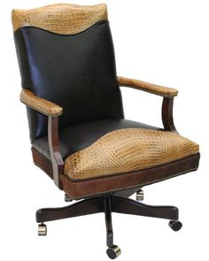 Old Hickory Tannery Leather Office Chair... Perfect for a man's home office.