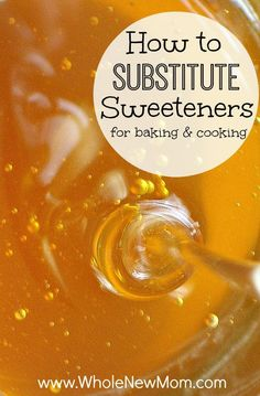 Need to substitute honey for sugar or maple syrup for honey? Find out how to substitute sweeteners for baking and cooking. If you are switching to baking with honey and maple syrup and other sweeteners for health reasons, or you've just run out of a sweet Honey Recipes, Whole Food Recipes, Healthy Recipes, Healthier Desserts, Healthy Food Substitutes, Stevia Desserts, Vegetarian Recipes, Sugar Free Desserts, Sugar Free Recipes