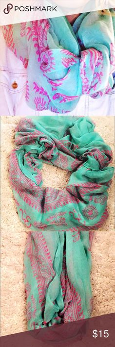 Teal bohemian infinity scarf Turquoise and fuchsia pink patterned bohemian infinity scarf Accessories Scarves & Wraps