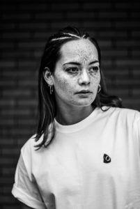 Model / Actress: Melissa van Beek - Features: Freckles Eurasian Asian Mixed Natural Brunette Beauty Make-up Fringe Bangs Braids - Location: Holland / Dutch / Netherlands - Photo: Black White Color Portrait Fashion Faces Photoshoot Studio Light - Photographer: Nanda Hagenaars  - Client: 2morrowshype
