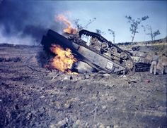 """captain-price-official: """"Destroyed M4 Sherman on Okinawa, 1945. The vehicle hit a landmine and flipped. """""""