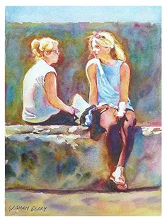 "Girls talking by Graham Berry ~ 12"" x 9"""