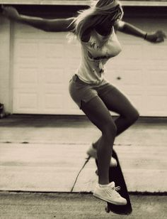 A girl with a skateboard