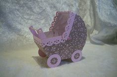 Pram made of cardstock - sooo very cute! From Petra (Instructions in German & English)
