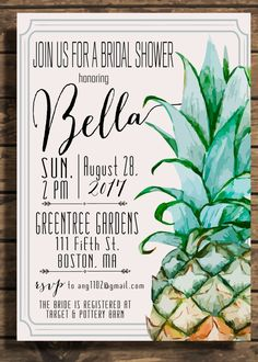 Pineapple Invitation Pineapple Bridal Shower by TMDesignCo on Etsy