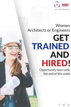 "NIBT provides the opportunity for ""Women to Learn & Earn in the Evolving Construction Technologies""! Under the Women Empowerment & Skill Development schemes, Get Training & 100% Hiring for Off-Field Job (IT Domain) + Avail 10% discount & extra benefits!    #WomenEmpowerment #SkillDevelopment #CivilEngieering #Architecture #ElectricalEngieering"