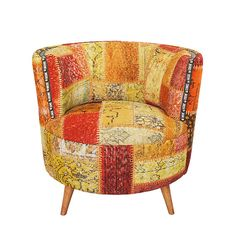 Orange Patchwork Stuhl bedeckt mit Overdyed Jahrgang Rug, Paprika Orange, hölzerne Möbel/Sonderanfertigungen