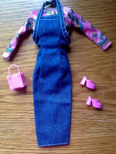 Denim and Plaid Dress wDenim Shoes---Girl doll clothes---doll shoes
