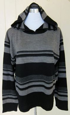 Coldwater Creek Women Size  XL Gray & Black Striped Lightweight Hooded Sweater  #ColdwaterCreek #Hooded