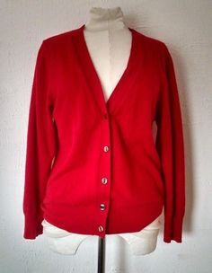 f830e819b66 Details about United Colors of Benetton Cardigan 48 8-10 Red Wool Angora  Preppy Italy Vtg 90s