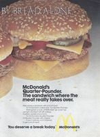 McDonalds Quarter-Pounder with Cheese 1974 Ad. Starting from a lb. of 100 percent beef, we cook it up just right and top it off with catsup, mustard, pickles and onions. It won't cost you a lot of bread to get a lot of meat. White Castle Hamburgers, Richard And Maurice Mcdonald, International House Of Pancakes, Ihop Pancakes, Mcdonalds Fast Food, Southwest Salad, Kentucky Fried, Fast Food Chains