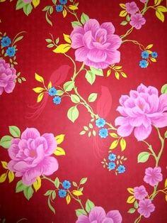 rood bloemen en vogels behang 25
