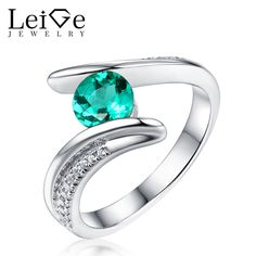 Leige Jewelry Emerald Ring Green Gemstone Sterling Silver Wedding Rings for Women Round Cut Anniversary Gift Bezel Setting