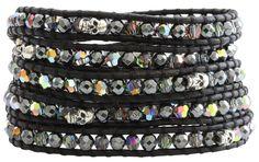Chan Luu Skull Swarovski Mix Crystal Sterling Silver Nuggets Black Leather Wrap Bracelet bs-3622 $295.00. Available at www.regencies.com