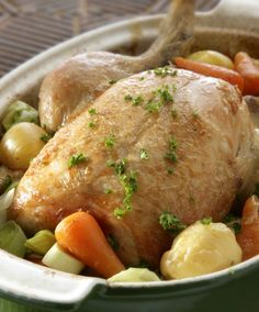 Chicken in a pot, with hard apple cider and veggies.