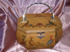 Vintage 1960's Wooden Purse with Decoupaged by gellibirdsattic, $35.00