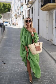 Green Long Balloon Sleeves Loose Maxi Dress Green / S Mode Outfits, Dress Outfits, Fashion Dresses, Maxi Dresses, Ibiza Outfits, Girly Outfits, Wedding Dresses, Elegant Woman, Casual Dresses For Women