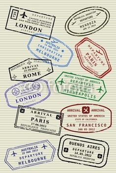 Wall Mural Passport page with travel stamps - traveler's visas